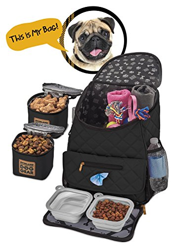 Dog Travel Bag - Deluxe Quilted Weekender Backpack - Includes Lined Food Carriers and Collapsible Bowls (Black) (Black)
