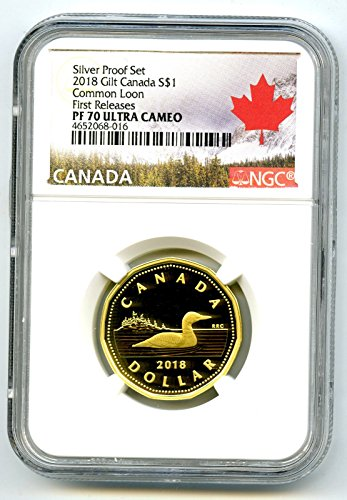 2018 Canada Silver Proof Loonie Dollar .9999 Fine Gilt Gold Loon FIRST RELEASES UCAM $1 PF70 NGC