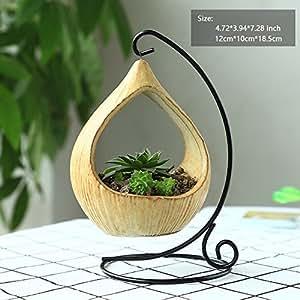 """AsureQ 5"""" Vintage Artistic Hanging Planter Succulent Flower Pot Desk Plant Vase for Indoor and Outdoor Decorative (Oval)"""