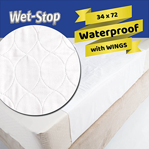 (Wetstop mattress pad protector with wings (34x72) bed wetting, incontinence cover,)