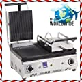 Commercial Kitchen Equipment DOUBLE Non-Stick GROOVED CAST IRON LARGE SIZE Electric Panini Sandwich Press Grill Maker Machine