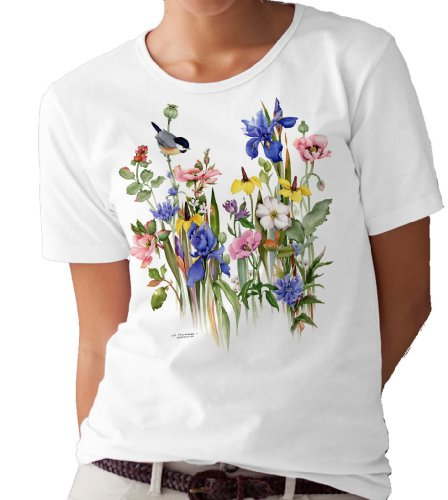(Country Garden and Robins T-Shirt/tee by Valerie Pfeiffer - Small White)
