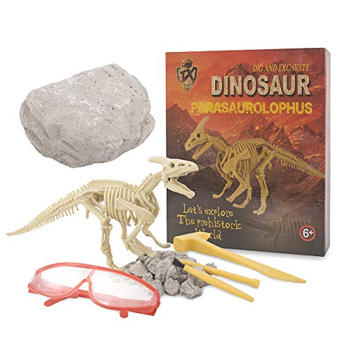 Beyondtrade Dinosaur Dig Kit for Kids, Dino Fossil Dig Kits Dinosaur Skeleton for Children's Excavation Science Education DIY STEM Toys (Parasaurolophus)