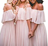 Hatail Off Shoulder Chiffon Bridesmaid Dress Strapless A-line Evening Gown Long