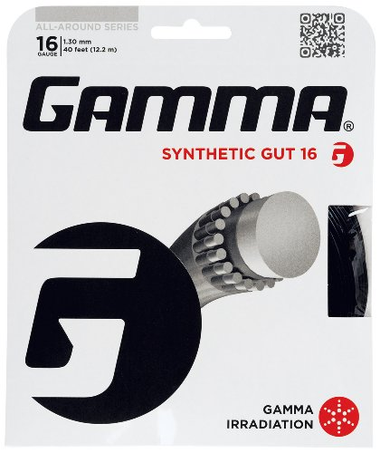 Gamma Synthetic Gut 16G Tennis String, Black - Tennis Racket String