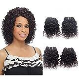 Brazilian Human Hair 4 Bundles Curly Weave Remy Virgin Unprocessed Jerry Curl Natural Black Color 50g One Bundle 8 8 8 8 Inch