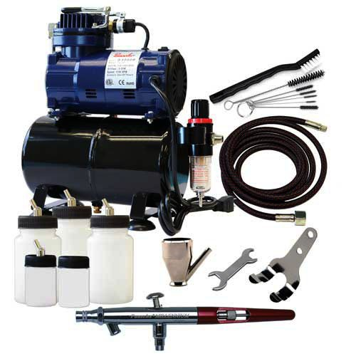 Paasche Airbrush MIL-300R Double Action Siphon Feed Airbrush Set and Compressor with (Double Action Airbrush Set)