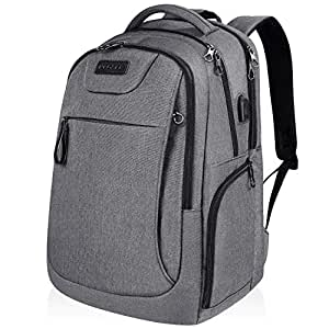 KROSER Laptop Backpack 17.3 Inch Computer Backpack School Backpack Casual Daypack Water-Repellent Laptop Bag with USB Charging Port for Travel/Business/College/Women/Men-Grey