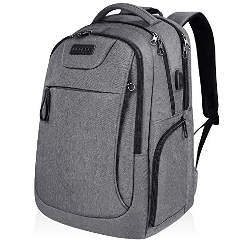 KROSER School Laptop Backpack for 15.6-17.3 Inch Laptop Anti-Theft Large Travel Computer Backpack with USB Charging Port Water-Repellent Casual Daypack for Business/College/Men/Women-Grey