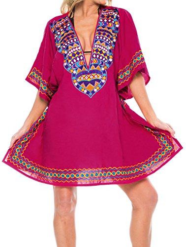 La Leela Women's Bikini Cover ups Beach Swimwear Short Sleeves Embroidered Top Red