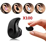 OWIKAR® 100 Packs of S530 Mini Invisible Wireless Bluetooth Headphone Smallest Earphones Earbuds Headset with Mic Handsfree Calling For Most Bluetooth Smartphones (Black)