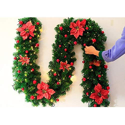 rouge PVC 25 * 270cm Kentop Guirlande de No/ël en rotin pour d/écoration de No/ël Vert