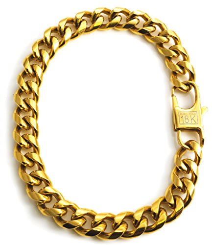 18k Gold Plated Cuban Link Chain Bracelet For Men + Gift Bag (18k Link Bracelet)