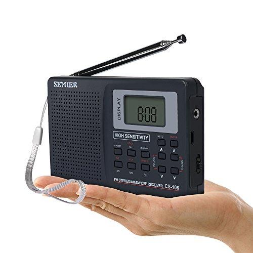 SEMIER Portable Shortwave Travel AM FM Stereo Radio Clock, Alarm, Clear Loudspeaker, Earphone Jack USB Power Cord by SEMIER (Image #3)
