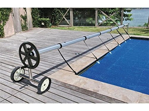 XtremepowerUS Stainless Steel Solar Cover Reel for Swimming Pools Up to 21' Feet Wide Inground with Wheel