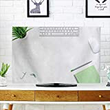 Philiphome Cover for Wall Mount tv Contemporary Open Space Office Theme with White Table Computer Cover Mount tv W25 x H45 INCH/TV 47''-50''