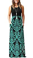 MISFAY Womens Summer Contrast Sleeveless Tank Top Floral Print Maxi Dress