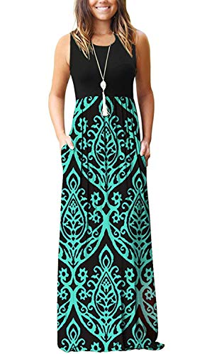 AUSELILY Women Sleeveless Loose Plain Casual Long Maxi Dresses with Pockets (2XL, Black Green)
