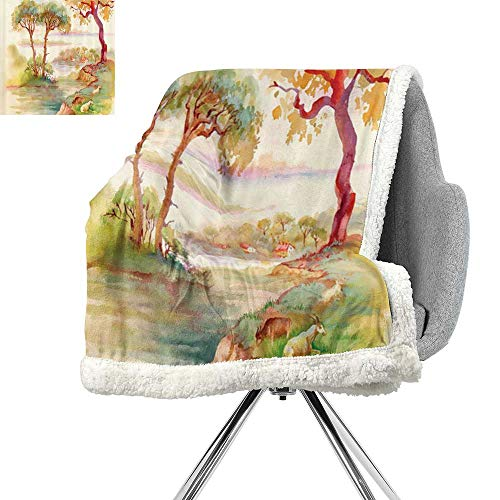 (Apartment Decor Collection Berber Fleece Blanket,Summer Landscape with Goats Sheep Eating Woodly Shrubs and Grass Illustration,Cream Green Brown,Plush Throw Blanket W59xL31.5 Inch)