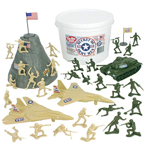 Tim Mee Bucket of Army Men: Tan vs Green 54pc Soldier Playset - Made in USA