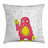 Ambesonne Kids Decor Throw Pillow Cushion Cover, Funny Smart Monster Doing Math on Wall Science Nerds Comic Illustration, Decorative Square Accent Pillow Case, 16 X 16 Inches, Pink Yellow White
