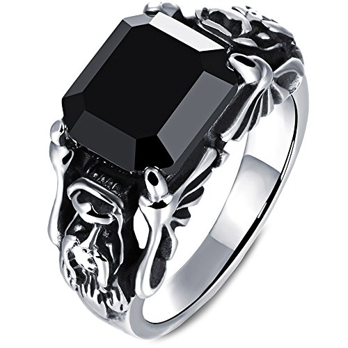 Mens Vintage Stainless Steel Embossed Dragon Head Claw Crystal Ring Band Gothic Biker Silver Black
