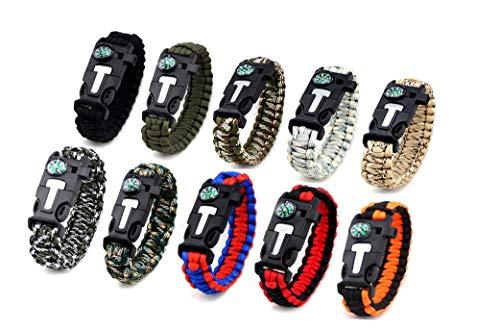 Kissmi 10 Pack Paracord Bracelet Survival Gear with
