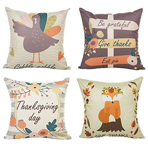 (PSDWETS Thanksgiving Decorations Turkey Fox Pattern Be Grateful Give Thanks Eat Pie Pillow Covers Set of 4 Thanksgiving Decor Throw Pillow Covers Cushion Cover 18 X 18)