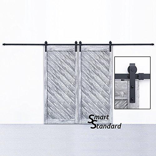 SMARTSTANDARD 13 FT Double Door Sliding Barn Door Hardware (Black) (J Shape Hangers) (2 x 6.6 foot Rail) - Single Dummy Spring
