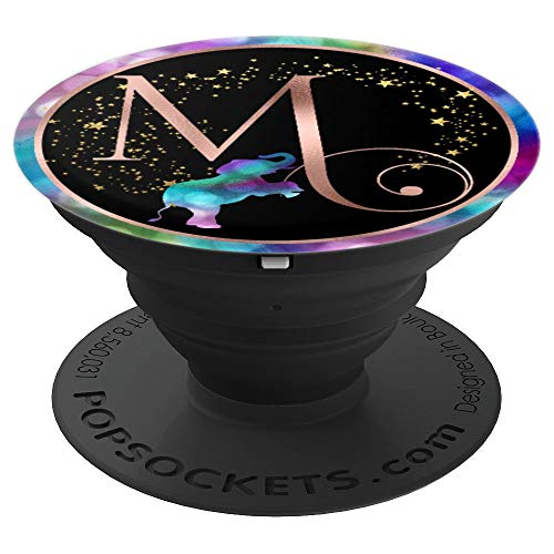 Rose Pink Letter M Monogram Rainbow Elephant - PopSockets Grip and Stand for Phones and Tablets