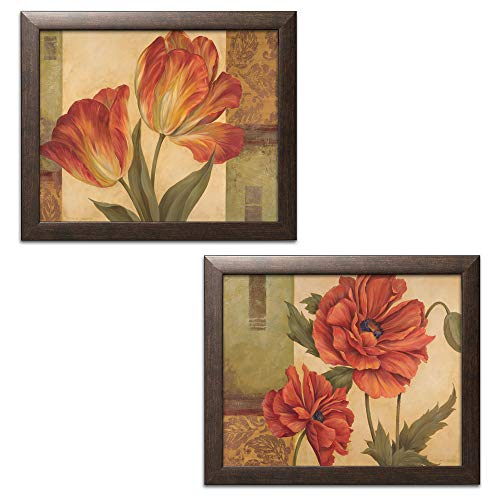 Print Framed Brown - Memories of Sienna I Beautiful, Vintage Red Flower Prints; Floral Decor, Set of Two 14x11in Brown Framed Prints; Ready to Hang! Red/Green/Brown