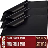 Twisted Chef BBQ Grill Mats Non Stick - Best for Charcoal and Gas Grills - Essential Grill Accessories and Barbecue Tools - Set of 3 Sheets
