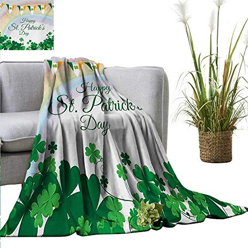 homehot St. Patricks Day Blanket Sheets Celebration Greeting with Rainbow and Flags Lucky Clovers Shamrock Plant Bedroom Warm 71
