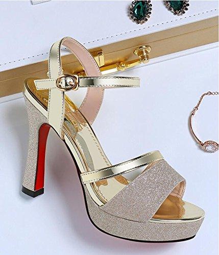 Zapatos de mujer de verano sandalias de verano tacones inferior,39 Rosa Gold