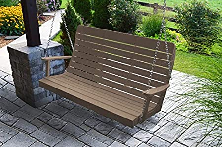 Amazon Com A L Furniture 5 Amish Poly Winston Porch Swing Weathered Wood Garden Outdoor