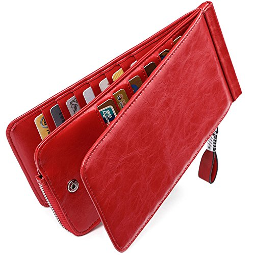 Wave Driver (Huztencor Women's Credit Card Holder RFID Blocking Oil Wax Leather Multi Card Organizer Wallet Slim Long Zipper Bi-fold Business Card Case Clutch Wallet with ID Window Red (FBA))