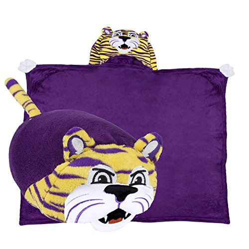 Comfy Critters Stuffed Animal Blanket - College Mascot, Louisiana State University 'Mike The Tiger' - Kids Huggable Pillow and Blanket Perfect for The Big Game, Tailgating, and Much More. ()
