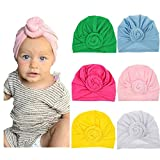 Ademoo Baby Girls Hats Newborn Nursery Beanie Hospital Hat Toddlers Cotton Caps (6 Pack)