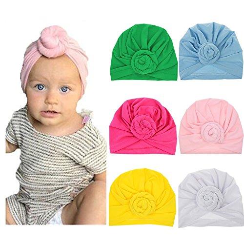 Ademoo Baby Girls Hats Newborn Nursery Beanie Hospital Hat Toddlers Cotton Caps (6 Pack)