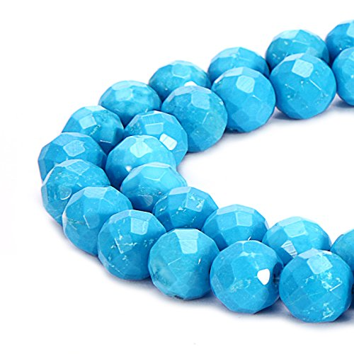 BRCbeads Natural Blue Sky Turquoise Gemstone Loose Beads Faceted Round 8mm Crystal Energy Stone Healing Power for Jewelry Making