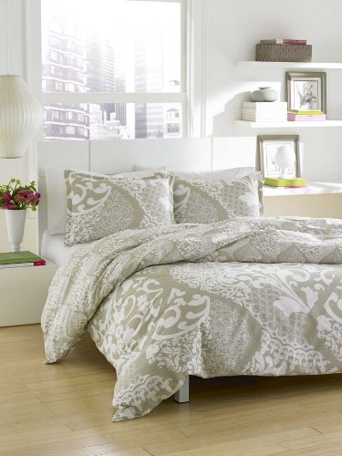 City Scene Medley Cotton Comforter/Shams Set,Platinum , King