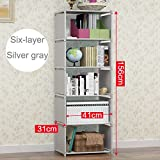 ONE FIVE DAY Multifunctional Simple Bookshelf Stainless Steel Rack Living Room Study Decorating Bookcase Bedroom Storage Rack Home Furniture for Everyone, Men, Women, Children