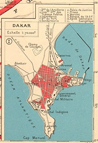 Dakar Plan - 1938 - Old Antiguo Mapa Vintage - Juego de funda nórdica Mapas de África Occidental Francesa: Amazon.es: Hogar