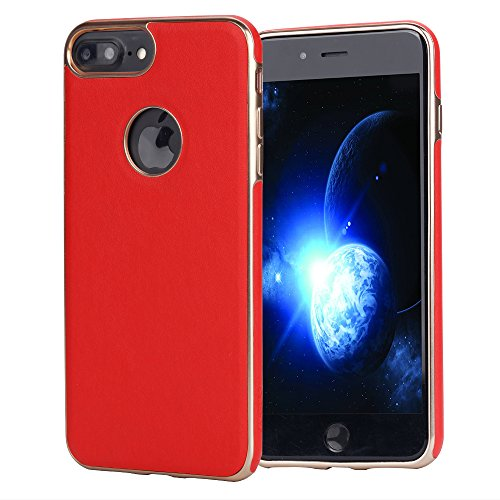 iPhone 7 Plus Case iphone 8 Plus case JOGUO (5.5inch) Red Leather Coated Matte Gold Plating TPU Case Built-in Metal Plate for Magnetic Car Phone Mount + Clear Tempered Glass Screen Protector kit