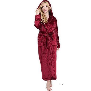 Mujer Batas Elegantes Moda Bonita Cómodo Otoño Invierno Albornoz Mode De Marca Espesar Encapuchado Camisones Unicolor Manga Larga V-Cuello Pijama Pijamas ...