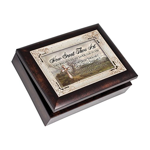 How Great Thou Art Savior Cross Italian Wood Finish Jewelry Music Box Plays song How Great Thou (Song Lyrics Great Thou Art)