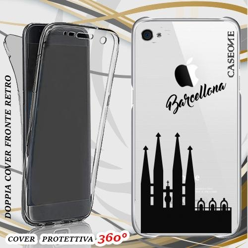 CUSTODIA COVER CASE SAGRADA FAMILIA BARCELLONA PER IPHONE 4 FRONT BACK TRASPARENTE