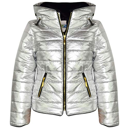 (Kids Girls Jacket Metallic Foil Quilted Padded Puffer Bubble Fur Colar Warm Coat)