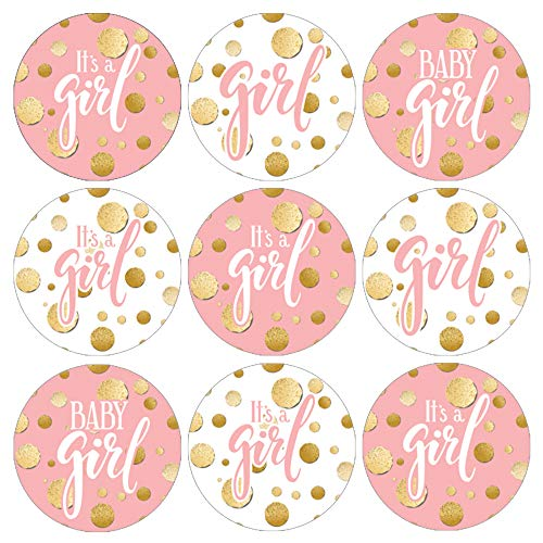 Pink and Gold It's a Girl Baby Shower Favor Labels | 180 Stickers -