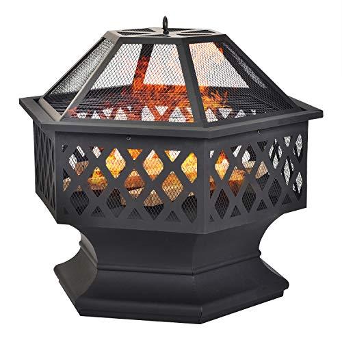 Feuerstelle für Garten und Patio –76cmUpgrade Black Steel Garden Heater/Burner für Holz & Holzkohle, Able Use Kohle…